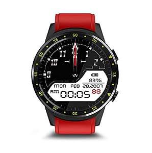 Relojes Inteligentes Reloj Inteligente SN05 Ronda de Reloj Inteligente con Ranura para Tarjeta SIM TF Llamadas de sincronización Notificaciones para (Color : Rojo)
