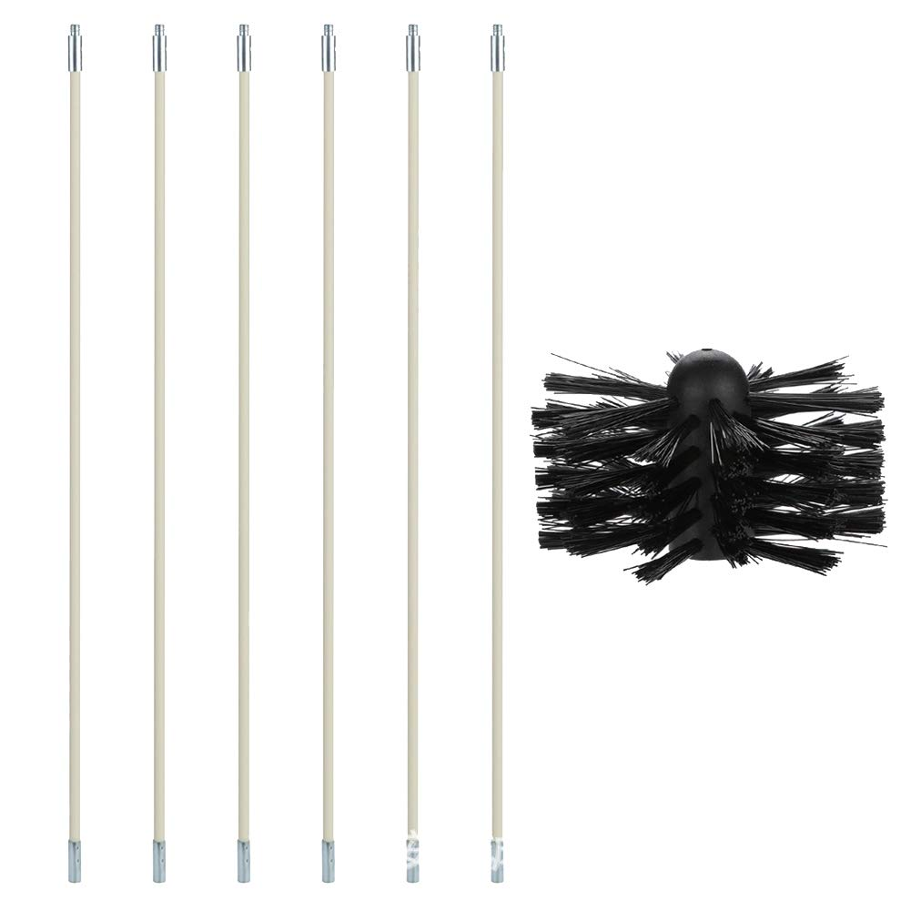 Dnasrivew 23.62 Inch Nylon Bendable Chimney Pipe Cleaner Brush Boiler Dryer Sweep Cleaning Tools to Clean The Tubular Inner Wall of The Chimney, Oil-Smoke Machine, Dryer, Boiler, Black by Dnasrivew