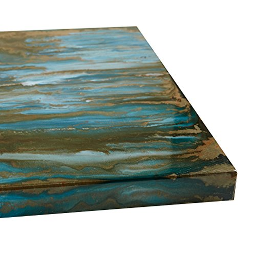 Pearl & Sea Multi Panel White Teal Canvas Wall Art 19X37, Abstract Transitional   Sea Wall Décor