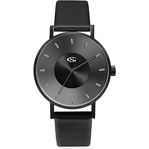 GEORGE SMITH Unisex Unique Analog Quartz Waterproof Business Casual Leather Band Wrist Watch with Simple Fashion Classic