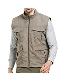 CHANGTAI Men's Waterproof Outdoor Fishing Gilet Multi Pockets Quick Dry Hiking Vest