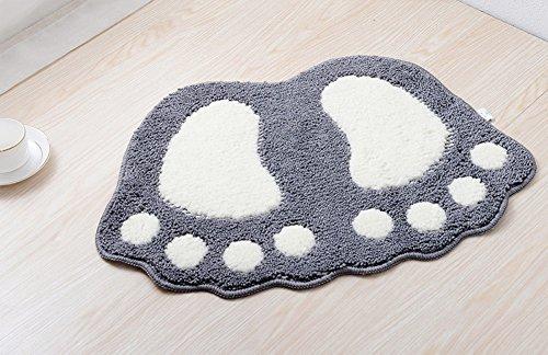 et Pattern Anti-slip Microfiber Doormat Solid Non-Slip Area Rug Carpet Floor mat Soft Entry Mat for Home Bedroom Silver Gray 16