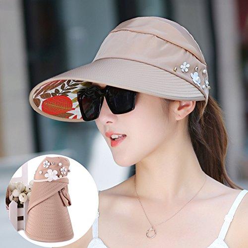Khaki  pearls Women's Adjustable Beach Floppy Sun Hat