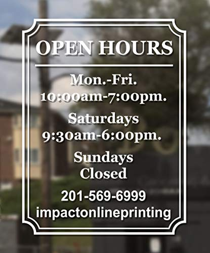 Custom Business Hours Window Decal - Frame Design-Vinyl Custom Lettering, Glass Door Sign 14