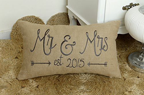 DecorHouzz Mr and Mrs Burlap Pillow cover Embroidered Pillow cases Personalized Custom Date decorative pillow Anniversary Gift Wedding