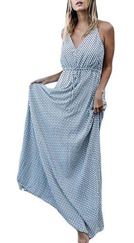 ガロン迷信ばかげている(ラボーグ) La Vogue レディース マキシ丈 ワンピース ロング Aライン ドレス ノースリーブ Vネック 花柄 ボヘミアン パーティー 結婚式 リゾート 青色 XL