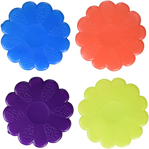 Fit & Fresh Cool Coolers, Slim Ice Packs for Lunch Boxes, Bags and Coolers, Flower Shapes for Kids, Set of 4, Multicolored