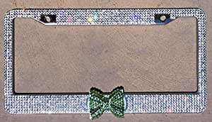 Premium Quality Crystal Glass Rhinestones Clear Bling License Plate Frame, Peridot Green Bling Bow To Fit Car Truck Auto Exterior Women Girl Car Accessory (Clear w/ Green Peridot)