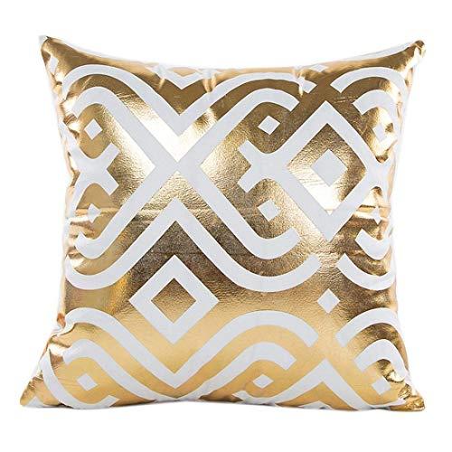 New Gold Foil Geometric Printing Pillow Case Sofa Waist Throw Cushion Cover Home Decor 18X18 New Home Decor ()