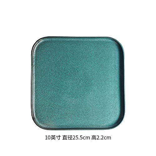 (Ceramic Western plate steak plate square dish dish European home creative pad plate tea tray personality kiln glaze 10 inch square short side - green pine sesame point 25.5x2.2cm)