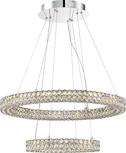 Quoizel PCIN1828C Infinity Crystal Floating Ring Pendant Lighting, 1-Light, LED 32 Watts, Polished Chrome 10 H x 28 W
