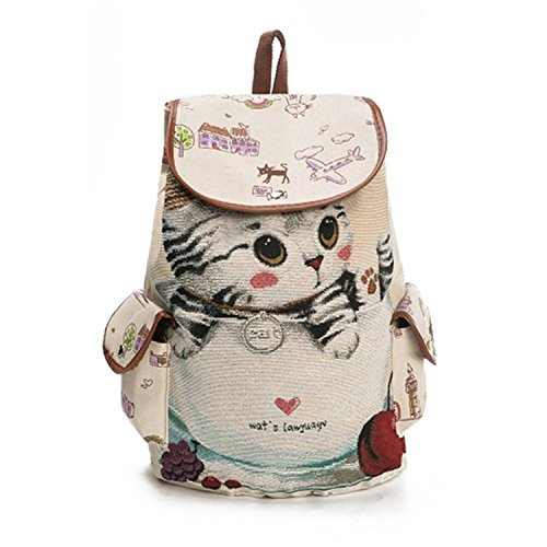 Teenage Drawstring School Women Print Backpacks Cute Refuelr Backpack Canvas Girls Backpack Bags For Embroidery Female 840a Cats n6wqP8w