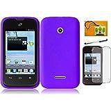 LF 4 in 1 Bundle - Silicon Skin Flexible Gel Case Cover, Lf Stylus Pen, Screen Protector and Wiper for (Straight Talk , Net10 , T-Mobil) Huawei Inspira H867G / Prism 2 II U8686 (Skin Purple)