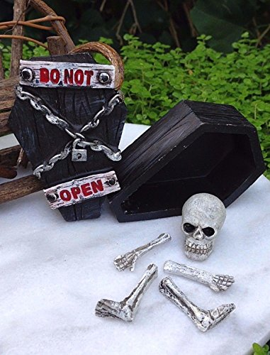 Miniature Dollhouse Fairy Garden Haunted Hollow Halloween Skeleton Bones Coffin (Midnight Coffin)