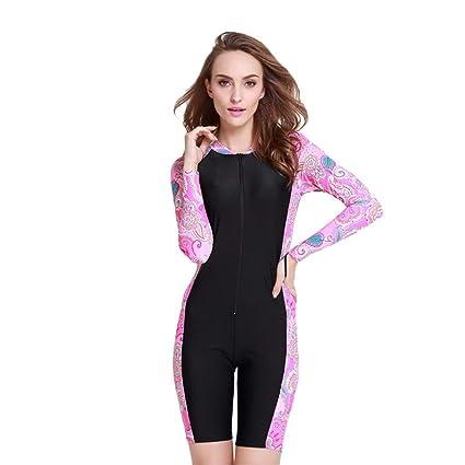 71db3a3686d Amazon.com : Iusun Women 's One Piece Swimsuits Long Sleeve Boyleg Swimwear  Snorkeling Surfing Swim Suit Zip Front Super Stretch Diving Wetsuit :  Camera & ...