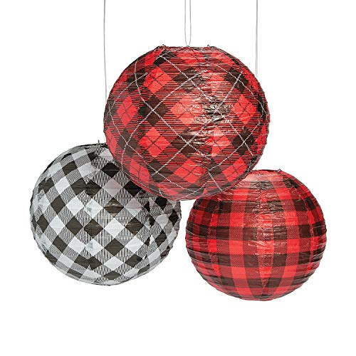 Fun Express - Buffalo Plaid Hanging Paper Lanterns - Party Item for Boys and Girls of All Ages - Great for All Celebrations]()