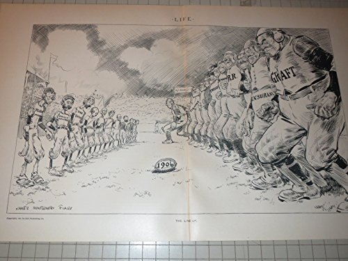 1906 Football Game Between Robber Barons   General Public   Graft   Trusts   Finance Football Players   James Montgomery Flagg Drawing