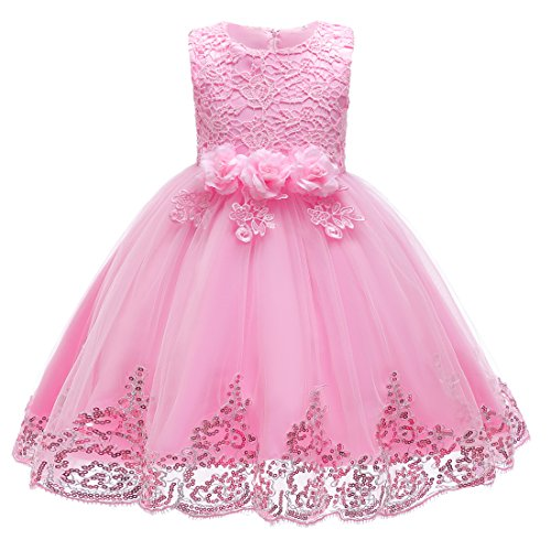 Berngi Kids Lace Sequins Formal Evening Wedding Gown Tutu Princess Dress Flower Girls Clothing (Pink, 2-3Years) ()