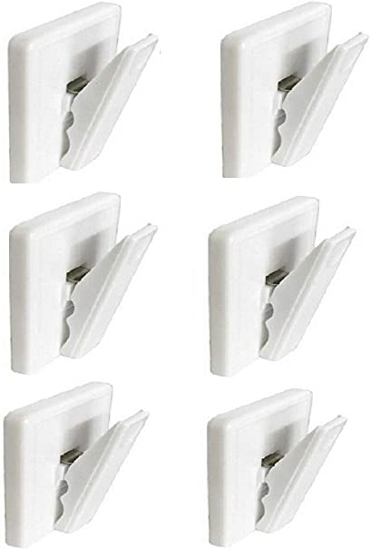 2 X Self Adhesive Bill Clips Tea Towel Apron Holder Clamp Holder Clamp White