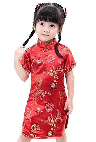 AvaCostume Girls Traditional Chinese Qipao Cheongsam Dress, 2T-3T, Redphoenix (Chinese Chinese Dresses Dress)