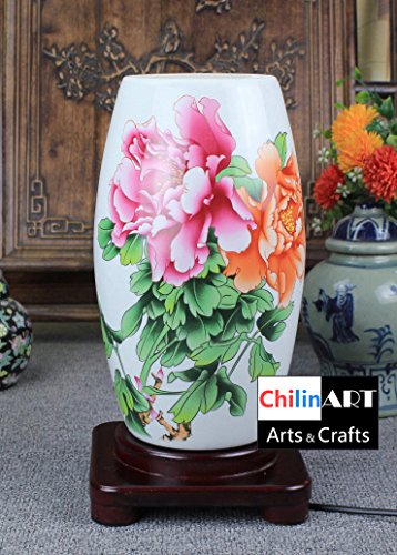 Beautiful painted lamp, ceramic lamp shade, Chinese traditional handicraft production, fine two flower peony flower, meaning love, happiness and wealth (Flower Meanings Peony)