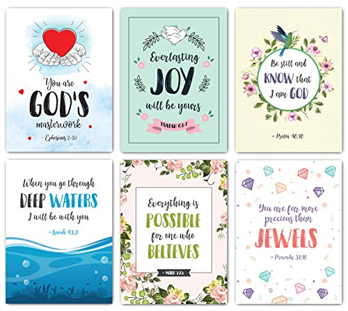 Scripture Cards - Set of 48 Boxed Bible Verse Blank Note Cards with Envelopes - Christian Greeting Cards/Inspirational Prayer Cards, 6 Designs. Christian Stationary with Bible - Greeting Cards Bible