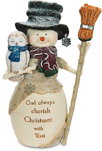 Pavilion Gift Company The The Birchhearts - Owl Always Cherish Christmas with You Snowman Figurine Holding Owl & Broom 6.5 Inch, 6.5