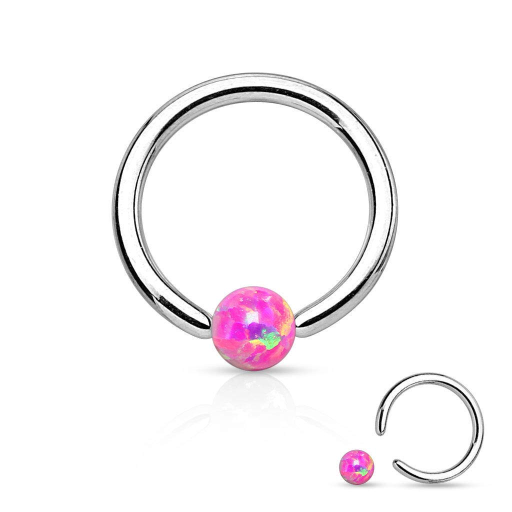 adit/_mc 1 Pc Pink Simulated Opal Surgical Steel Circular Barbell Nose Septum Captive Bead Ring 16g Length 6 mm