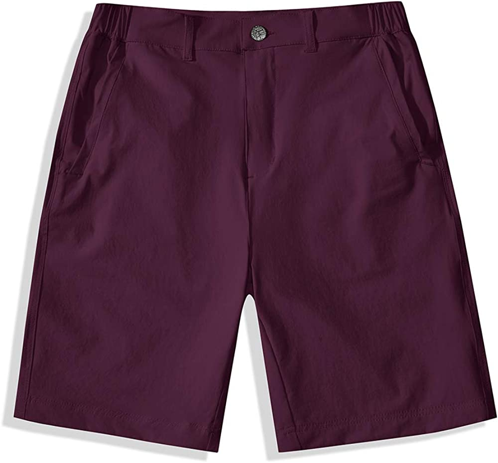 BASADINA Kids Athletic Shorts for Boys Girls Quick Dry Outdoor Casual Shorts with Moisture Wicking Performance, Jujube Red, 11-12 years(150cm)