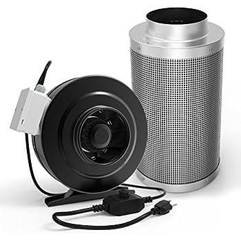 Vivosun 6 Inch 390 Cfm Inline Duct Fan With 6 Inch Carbon