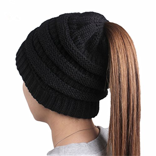F&U Ponytail Wool Cap Multi-Color Knit Floppy Hat Winter Beanie For (Acrylic Hair Band)