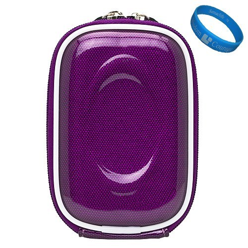Purple Carbonfiber VG Compact Semi Hard Protective Camera Case for Nikon Coolpix S01 / S3300 / S4300 / S4100 / S3100 / S80 / S5100 / S3000 / S4000 / S1000pj / S70 / S640 / S620 / S230 / S220 / S560 / S610 / S52c / S550 Point & Shoot Digtal Cameras + SumacLife TM Wisdom Courage Wristband