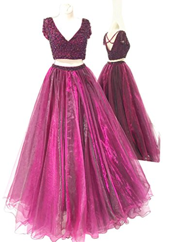 XJLY 2 Piece V Neck Short Sleeve Beaded Tulle Prom Dress Party Gowns (Festa E Halloween 2017)