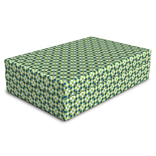 Lunarable Abstract Pet Bed, Geometric Blocks Inspired Pattern in Blue and Lime Tones, Animal Mat Foam and Stylish Printed Cover, 24