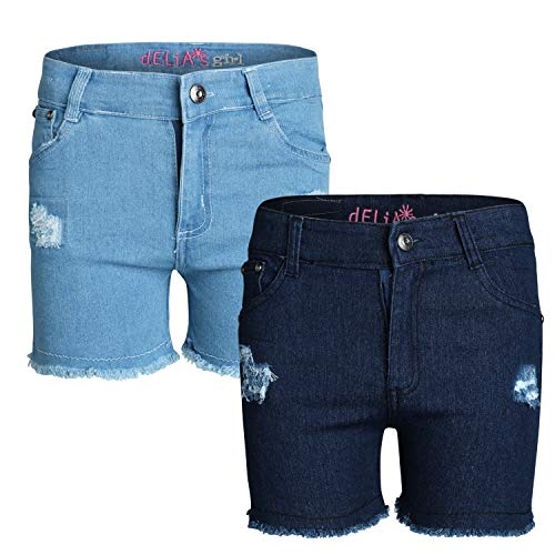 - dELiA*s Girl\'s Denim Twill Shorts (2 Pack) (Ripped with Sequins, 7)'