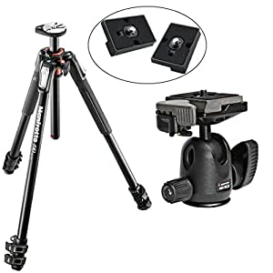 Manfrotto MT190XPRO3 3 Section Aluminum Tripod Kit w/ 494RC Mini Ball Head with Quick Release and Two Replacement Quick Release Plates for the Rc2 Rapid Connect