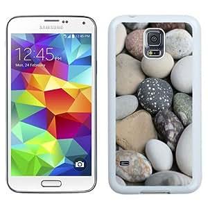 NEW Unique Custom Designed Samsung Galaxy S5 I9600 G900a G900v G900p G900t G900w Phone Case With Soft White Beach Rocks_White Phone Case