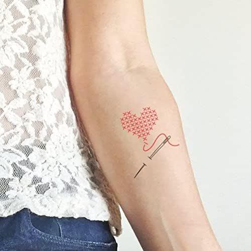 Punto de cruz corazón - Tatuaje temporal (conjunto de 2): Amazon ...