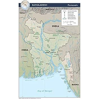 Physical Map Of Florida.Amazon Com Map Poster Bangladesh Physical Map 16 5 X24 Gloss