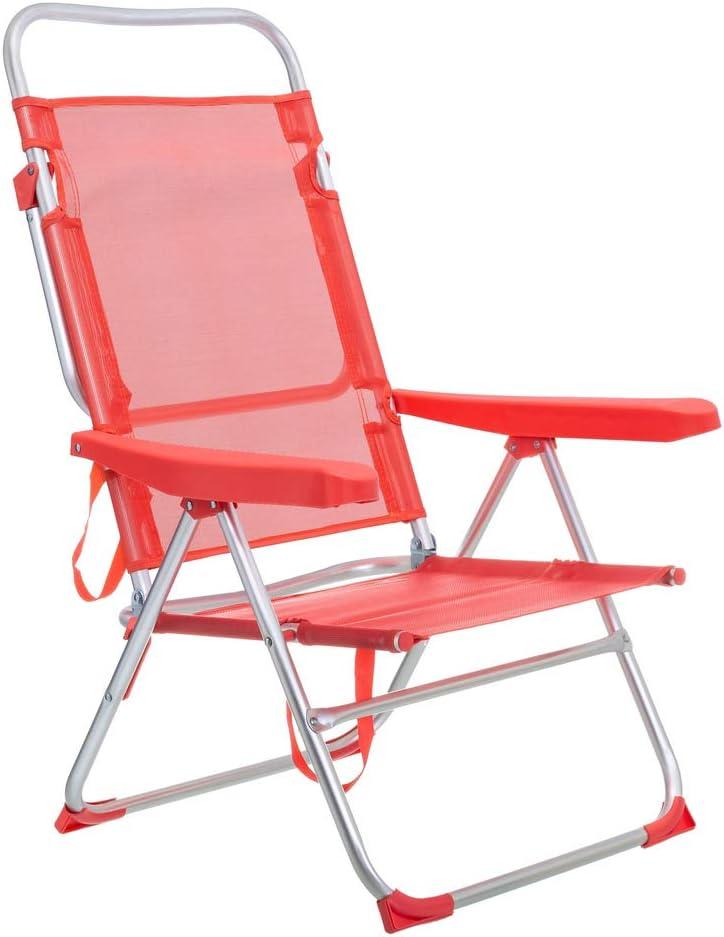 LOLAhome Tumbona Cama de Playa 4 Posiciones de Aluminio y textileno (Coral)