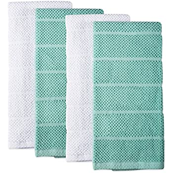 DII CAMZ36911 Chef Terry Dish Towel Set, Dishtowel S/4, Aqua, 4 Piece
