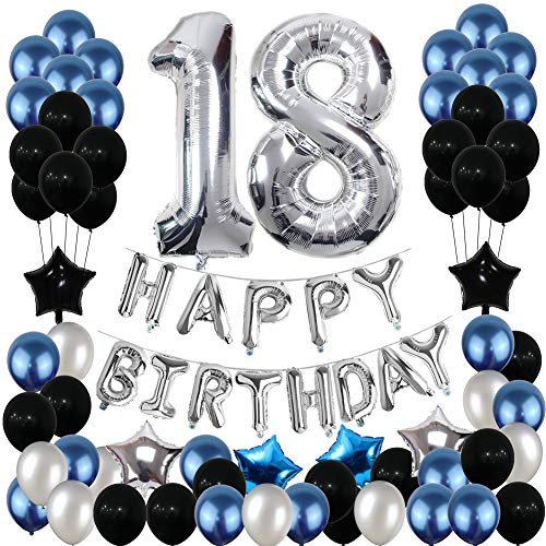 18th Birthday Decorations, 18th Birthday Party Balloons Blue Silver for Girls Boys Women Men(80 Pack Party -