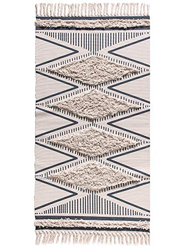 - Wolala Home Morocco Cotton Hand Woven Printed Area Rugs Tufted Tassels with Anti Skid Pad Throw Rug Machine Washable Bath Mat,Doormat, Indoor/Outdoor Carpet 2' x 3'