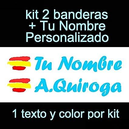 Vinilin Pegatina Vinilo Bandera España + tu Nombre - Bici, Casco, Pala De Padel, Monopatin, Coche, Moto, etc. Kit de Dos Vinilos (Azul Claro)