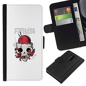 NEECELL GIFT forCITY // Billetera de cuero Caso Cubierta de protección Carcasa / Leather Wallet Case for LG G3 // Pulpo cráneo