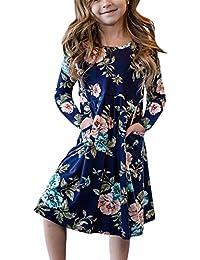 Girls Floral Print Long Sleeve Boho Empire Waist Midi Dress with Pockets