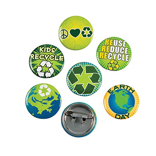 Fun Express - Earth Day/Recycle Mini Buttons - Jewelry - Pins - Novelty Pins - 48 Pieces (Tourism And Climate Change Risks And Opportunities)