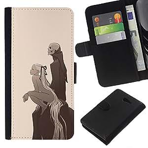 Protector de cuero de la PU de la cubierta del estilo de la carpeta del tirón BY RAYDREAMMM - Sony Xperia M2 - Girl & Esqueleto Parca