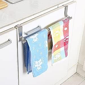 Casa Copenhagen Stainless Steel Towel Bar Holder Kitchen Cabinet Cupboard Door Hanging Rack Storage Hook Accessories (Silver)