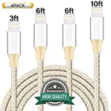 Youer Phone Cable 4Pack 3FT 6FT 6FT 10FT Nylon Braided USB Charging & Syncing Cord Compatible with iPhone X iPhone 8 8 Plus 7 7 Plus 6s 6s Plus 6 6 Plus iPad iPod Nano - Gold Silver